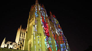 An illumination of the facade of Washington's National Cathedral.