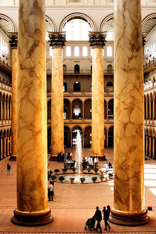 The main hall of the National Building Museum in Washington, DC