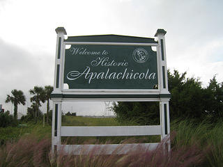 City sign entering Apalachicola Florida