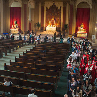 A Corpus Christi procession at the Shrine of Christ the King church in Chicago.