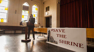 A rally to save the Shrine of Christ the King church in Chicago.
