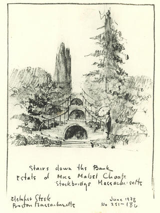 Drawing of plans for blue steps at Naumkeag