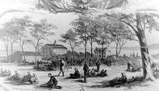 """""""The 71th REG. N.Y. At Alexandria, VA."""" Image dated 1861. Cotton Factory in background"""