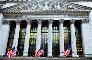 Exterior of the New York Stock Exchange, Wall Street