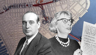 Robert Moses and Jane Jacobs (Library of Congress/Prints & Photographs Division/LC-DIG-ppmsca-24382; New York Public Library Digital Collections; Library of Congress/Prints & Photographs Division/LC-USZ-62-137839)