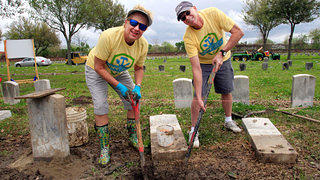 Volunteers Digging at Chalmette National Cemetery