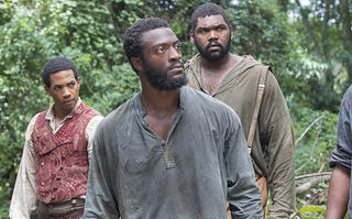 "Alano Miller as Cato, Aldis Hodge as Noah, and Theodus Crane as Zeke in WGN's ""Underground"""