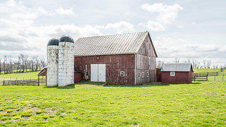 An exterior shot of the barn at the 1789 Stone Farmhouse.