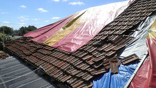 Tarp on Roof