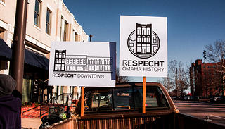 Protesters rally in support of Omaha's Specht Building on November 22, 2015