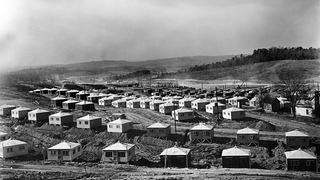 Temporary housing huts in Oak Ridge