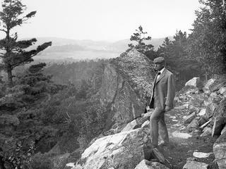 George B. Dorr looking out over the park