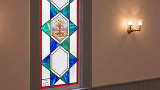 Stained Glass Window at Temple Beth El in Camden, South Carolina