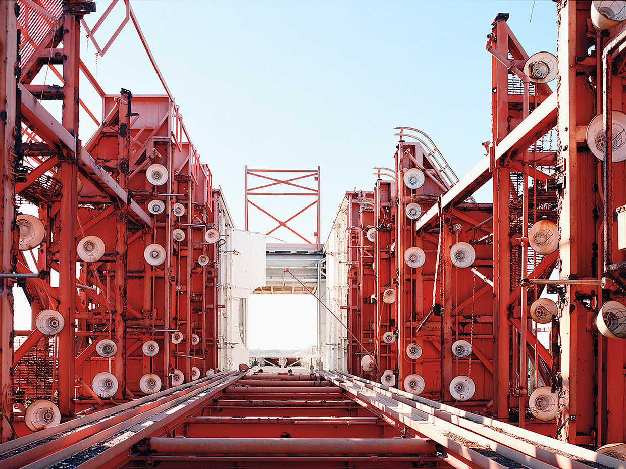 Red horizontal gantry