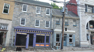 One of the buildings on Main Street marked unsafe for access after the floods in Ellicott City.