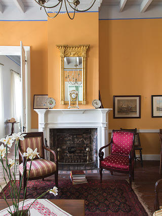 Sitting room with bright yellow painted walls