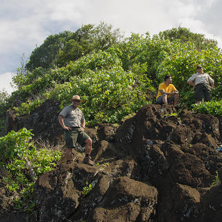 Pua, Joe and Pai in the National Park of American Samoa.