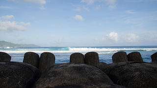 The edge of Tutuila's concrete sea wall.
