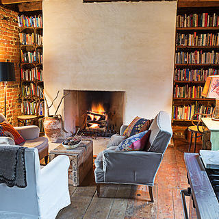 Living room with book cases