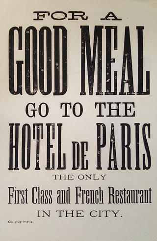 Advertisement produced by Louis Dupuy to encourage patrons to eat at the Hotel de Paris.  Credit: Priya Chhaya