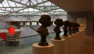 """The mezzanine gallery at the NGA's East Building, featuring Janine Antoni's """"Lick and Lather"""""""