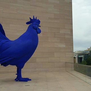 """View of the Katharina Fritsch's """"Hahn/Cock"""" on the new terrace at NGA's East Building"""