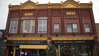 The Oddfellows-Erickson building, now Worth Brewing Company, in downtown Northwood, Iowa, was completed in 1896.
