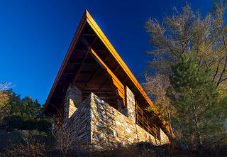 The view of the prow at the Archie Teater Studio at Teater's Knoll. Masonry by Kent Hale.