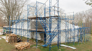 In-progress restoration of Sculpture Gallery, Philip Johnson's Glass House