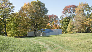 Exterior from a distance, Sculpture Gallery, Philip Johnson's Glass House