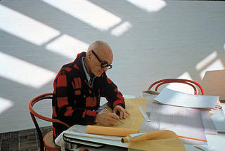 Philip Johnson at work in the Glass House Sculpture Gallery, Ted Thai/The LIFE Picture Collection/Getty Images