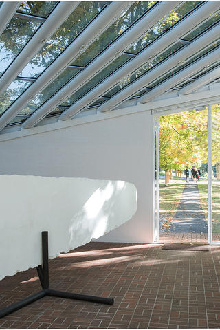 Inside the skylit Sculpture Gallery at Philip Johnson's Glass House.