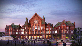 An rendering of the exterior of Cincinnati's Music Hall.