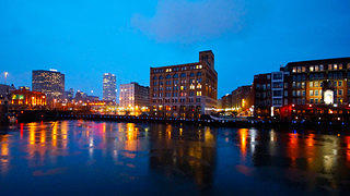 Photograph of Historic Part of Milwaukee taken at night