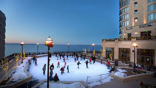 The ice rink at The Edgewater overlooks Lake Mendota in Madison, Wisconsin