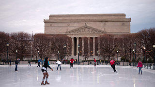 The ice rink at the National Gallery of Art is located in the center of the Sculpture Garden off Constitution Ave