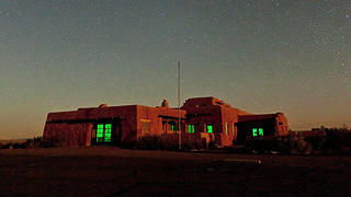 Night shot, exterior, Painted Desert Inn, Petrified Forest National Park