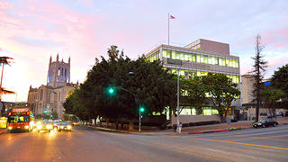 The Larchmont Charter School in the evening