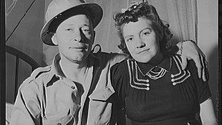 A black and white photograph of a Borger oil worker and his wife.