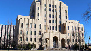 Exterior of the Potter County Courthouse in Amarillo Texas built in 1932.