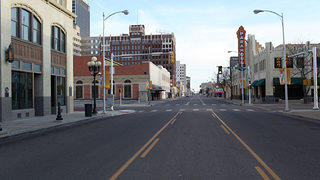 View of a street in Amarillo Texas without cars.