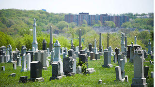 Cluster of graves on a hill at the Congressional Cemetery in D.C.
