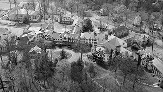 Old aerial photo of the National Park Seminary.