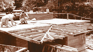 Pope Leighey House re-roofing in 1996. Credit: National Trust for Historic Preservation