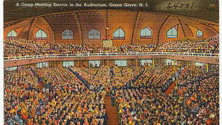 Historic postcard of a tabernacle meeting at Ocean Grove New Jersey