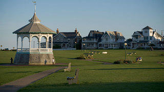 A gazebo on the greenspace at Oak Bluffs