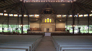The interior of the large tabernacle meeting place at Oak Bluffs in Martha's Vineyard