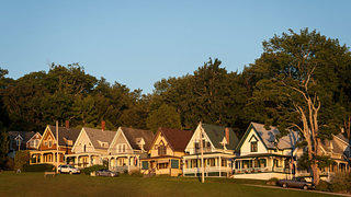 A row of cottages at sunset in Bayside Maine