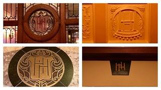 "A collage of the ""HH"" motif that appears throughout the hotel"