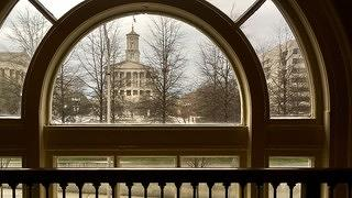 The Tennessee State Capitol, seen from the now-gym at the Hermitage Hotel.